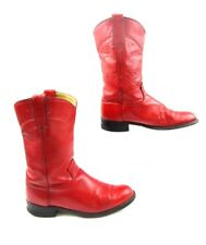 Ladies J.Chisholm Red Leather Roper Western Boots Size : 6 M