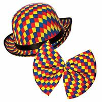 Adult CLOWN BOWLER HAT + BOW TIE Circus Big Top Birthday Party Fancy Dress