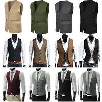 Men Vintage British Formal Casual Business Slim Fit Dress Waistcoat Vest Fashion