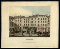 Glasgow Scotland street scene Tobacconist hotel horse carts 1825 aquatint print