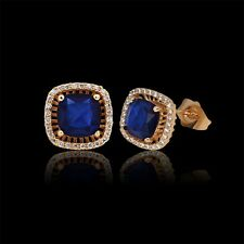 Gorgeous antique 18k gold filled sapphire Cool jewelry stud luxury lady earring