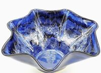 "Studio Art Pottery Fluted Bowl Drip Glaze Cobalt Blue White Signed 10.5"" Ceramic"