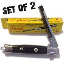 (2) Push Button Pocket Comb Brush Fake Folding Switch Blade Knife Knives