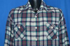 vintage 70s Big Collar Plaid Checked Cotton Textured Weave Shirt Youth Xl 20