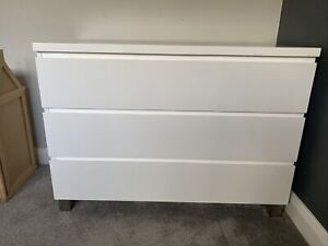 White Gloss Chest Of Drawers With Matching Bedside Chest