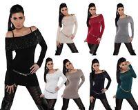 Sexy lungo pullover con scollo a barca zip/borchie&strass 8 colori taglia unica