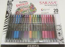 Zebra Sarasa Gel Retractable Pen, Medium, 0.7 mm, 20 pens/pk, 14 colors