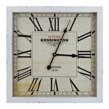 Yosemite Home Décor Square Wooden Wall Clock, White Frame - CLKA1B950