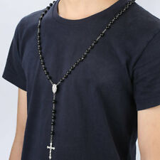 Mens Cross Pendant Black Simulated-Pearl Rosary Beads Necklace Silver tone AZ