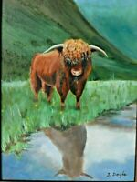 "M. JANE DOYLE SIGNED ORIG. ART OIL/CANVAS PAINTING ""HEILAN COO""(BUFFALO) FRAMED"