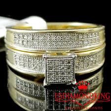 1/5CT LADIES WOMENS 100% GENUINE DIAMOND WEDDING ENGAGEMENT BRIDAL DUO RING SET