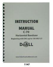 Doall C70 Horizontal Automatic Power Bandsaw Instruction Manual 1147