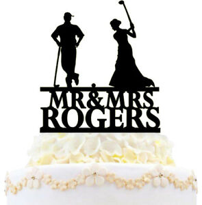 Mr & Mrs Personalized Couple Golf Sports Wedding Cake Topper With Last Name New
