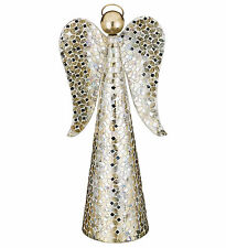 WHIMSICAL AMBER OR CHAMPAGNE MOSAIC ANGEL DECOR FIGURINES 12''H