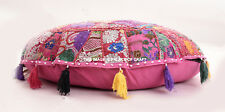"""32"""" Pink Round Pillow Cushion Cover Floor Patchwork Throw Indian Bohemian Decor"""