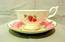 Vtg Coalport 1920-39 Pedestal Tea Cup & Saucer Pink Scalloped Band Wildflowers