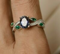 1.25CT Oval Cut Alexandrite & Emerald Leaf Engagement Ring 14K White Gold Over