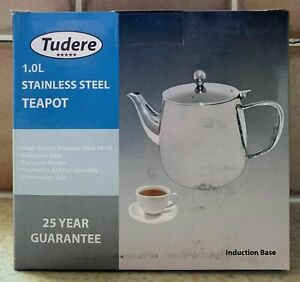 Tudere Stainless Steel Induction Base 1.0 Litre Teapot - 25 Year Guarantee