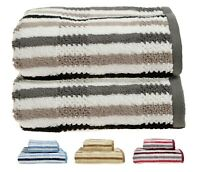 Allure Luxury Stripe Soft 100% Cotton Quick Dry 2 x Hand Towel Set 50 x 90cm