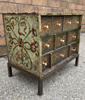 Antique Painted folk Art Apothecary/spice chest 1800s Dovetailed Sides Bone Pull