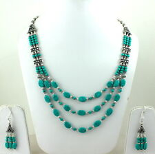 NATURAL TIBETAN TURQUOISE GEMSTONE BEADED NECKLACE & EARRINGS 62 GRAMS