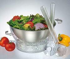 Spinning Salad on Ice Stainless Steel Bowl w/ 2 Serving Utensils | Prodyne CB-2