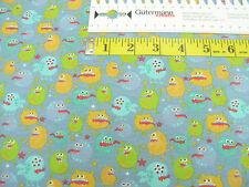 Jersey • Kleine bunte Monster auf graublau • Baumwoll Jersey Kinder • 0,5m