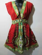Dress Fits M L XL Red Hipster Hippy Dashiki Print Mini Dress One Size NWT 827
