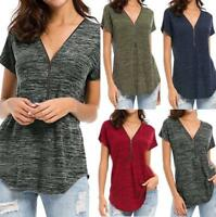 Womens Loose Fitting Zip Up V Neck Short Sleeve Tops Tunic Casual Shirts Blouse