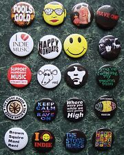 20 INDIE MUSIC 1 INCH BUTTON BADGES, MONDAYS RAVE MADCHESTER ROSES  FANCY BRIT