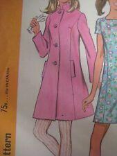 Vtg 60's McCall's COAT w/ BUTTONED BACK BELT & DRESS Sewing Pattern Women 13/14