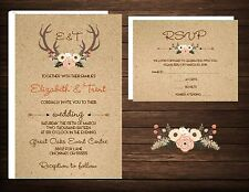 Wedding Invitations Floral Antlers Rustic Country 50 Invitations & RSVP Card