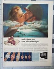 1943 Gruen Watch WW2 Soldier Woman Kiss Jewelry Art Lexington Vintage Print Ad