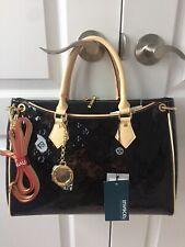 Gorgeous INVECE Patent Leather Tote Hand Bag Black Beige Satchel Italian Satchel