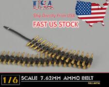 USA Sell 1/6 Scale 7.62mm AMMO BELT Metal Bullet Chain F Machine Gun Model Toys