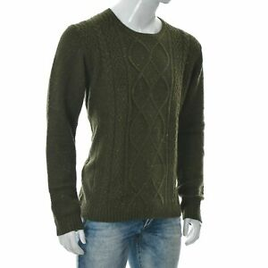 Angelo Litrico Men's Crew Neck Cable Knit Sweater Shirt Long Sleeve 2XL Green