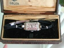 1930's Ladies Art Deco Enamel Gruen Watch ~ Gruen Case ~ Runs