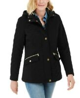 Laundry by Shelli Segal Water-Resistant Hooded Quilted Jacket, Size S, Black,NwT