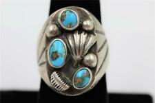 HEAVY VINTAGE NAVAJO STERLING SILVER TURQUOISE OLD DEAD PAWN SIZE 8 MENS RING