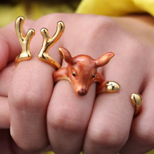 Eiliyahs Handmade 3 Piece Red Deer Animal Ring Set - Deer Head, Antlers & Hooves