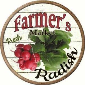 "FARMERS MARKET RADISH 12"" ROUND LIGHTWEIGHT METAL WALL SIGN DECOR RUSTIC"
