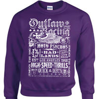 Biker Poster Sweatshirt Mens Womens Bike Rock outlaw racing jumper