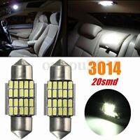 2x 30MM Festoon 3014 SMD 20 LED Map/Dome/Door Interior Reading Light Bulb White