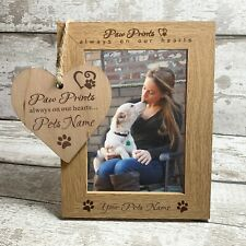 Personalised Wood Picture Photo Frame Paw Prints Pet Dog Cat Gift Heart Plaque