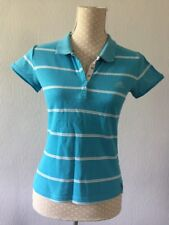 Womans ADIDAS blue / White Striped Fitted Polo Top Size 12 VGC