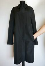Gucci Zip Black Two-Sided Trench Coat/Mac, Size:42, Made in Italy