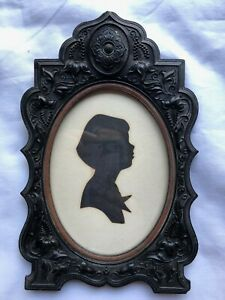Antique Gutta Percha Floral Ornate Picture Frame Patented Aug 7,1855 Silhouette
