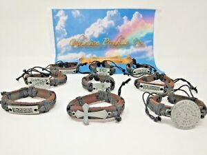Men/woman Hand made Brown leather religious bracelets