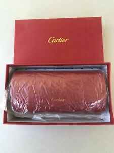 CARTIER Sunglasses Hard Case BOX/CASE Red Leather FRANCE Magnetic Closure