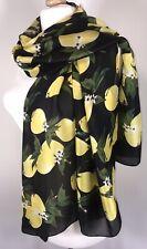 Designer Inspired Silk Scarf Pashmina Black Yellow Lemons Long Oversized NEW